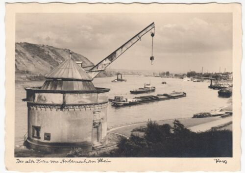 Germany; The Old Crane At Andernach Am Rhein PPC Unused, By Popp, Note Barge