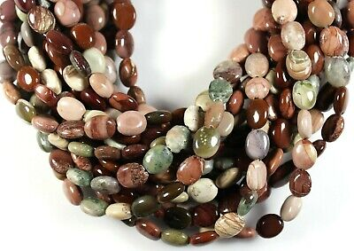 NATURAL MULTI-COLOR IMPERIAL JASPER 10x8MM OVAL HANDCUT BEADS 16