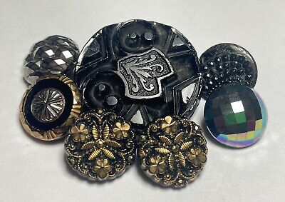 Faceted Vintage Glossy Black Czech Buttons with Oval Center