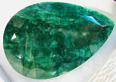 (Investment Grade Faceted Pear Cut Emerald Green Gemstone 838.10 Ct Value: $21.8k)