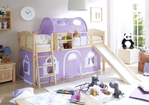 rutschbett hochbett mit rutsche spielbett kinderbett etagenbett natur lila wei - Hausgemachte Etagenbetten Mit Rutsche