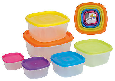 Set of 6 Clear Plastic Containers Square Food Storage Boxes with Coloured Lids Square Food Storage Set