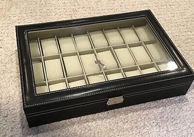 Nuevo Cuero Tapa de Cristal Watch-Bracelet Caja (24 Compartimento)
