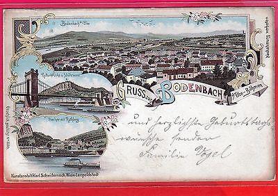 AK Litho Gruss aus Bodenbach Děčín - Elbe-Böhmen - Stempel 1899