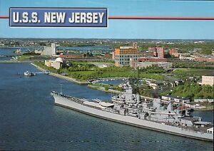USS New Jersey Camden NJ, Military Battleship now Museum Delaware River Postcard