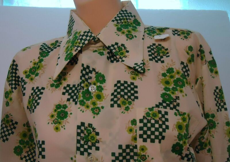 NOS Vtg Cream Green Geometric Checks Big Collar Disco Rockabilly Pimp M Shirt