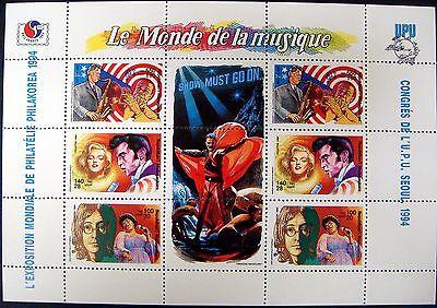 1994 Mnh Madagascar Famous Musicians Stamps Sheet Of 6 Elvis John Lennon Monroe