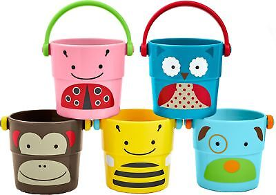 Skip Hop ZOO STACK & POUR BUCKETS Sensory Bath Play Cups 5 Pack Toddler BN
