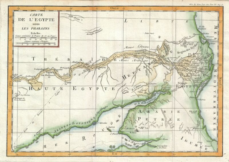 1770 Delisle de Sales Map of Egypt under the Pharaohs