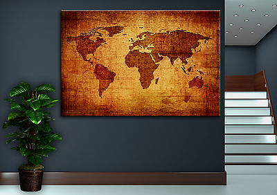 Vintage Giclee Canvas (Canvas Giclee Home Wall Prints Vintage Old World Map Print Color Picture)