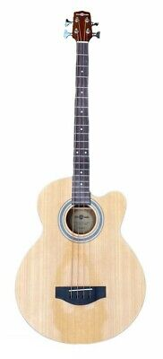 Electro Acoustic Bass Guitar by Gear4music Musical Instrument 4 Strings Beige