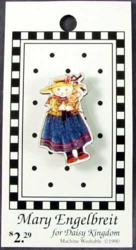 Mary Engelbreit Button, Anthropomorphic Cat Holding Doll, Orig 1990 Card