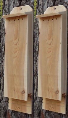 Twin Pack 1 Chamber Handcrafted Cedar Bat House ~ Pest & Mosquito Control