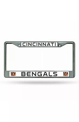 Cincinnati Bengals Logo Metal Chrome License Plate Tag Frame Cover Football NEW! Cincinnati Bengals License Plate Frame