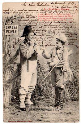 "RPPC/photogravure French Comic hunting rabbit gun ""Private Hunt"" artist signed # for sale  Royal Oak"