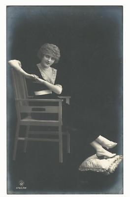 BEAUTIFUL WOMAN IN THE SHADOWS AND LIGHT  (RPPC) - Woman In Light