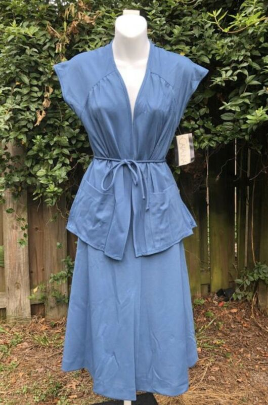 Rare Vintage 1980's Does 1940's Catalina Blue Wrap Top And Skirt Set 8/10 NOS