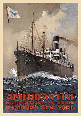 American Line Hamburg New York Frachtschiff Passagierschiff Plakate A3 309