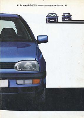 CATALOGUE VOITURE PUB. AUTO AD.CAR VOLKSWAGEN LA NOUVELLE GOLF 1991 EN FRANCAIS