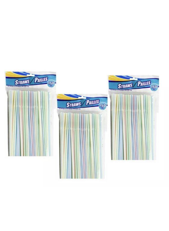 3 Pks Of 150ct Drinking Straws Bendable Flexible Plastic - Brand New -450 total
