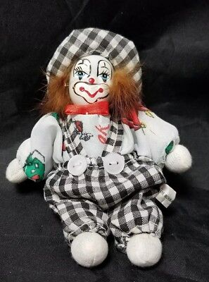 Small Beanbag Clown w Porcelain Face Circus Collectable, Black White Suit Hat - Black And White Clown Hat