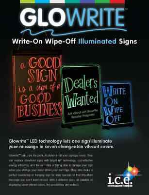 I.c.e. Glowrite Illuminated Sign With Led Technology- Single 19 X 25 New