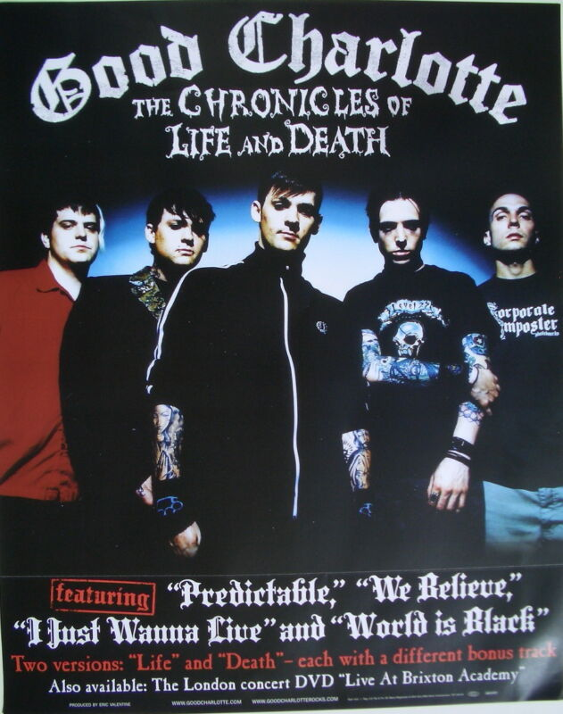 """GOOD CHARLOTTE """"THE CHRONICLES OF LIFE AND DEATH"""" U.S. POSTER - Group Standing"""