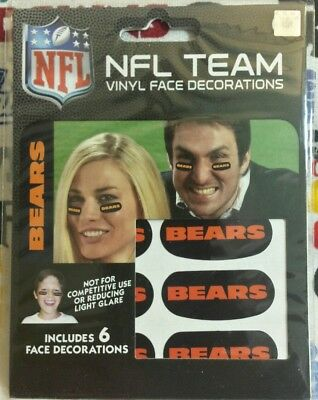 Chicago Bears Black Face (NFL set of 6 Eye Black Strip Stickers Chicago Bears (Face/Body Decorations) 3pr )