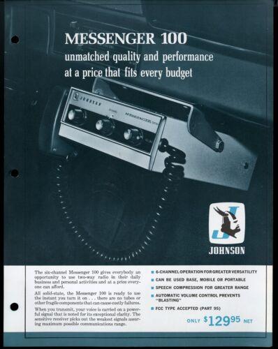 Vintage JOHNSON Messenger 100 Citizens Band Radio Print Ad Sales Spec Sheet