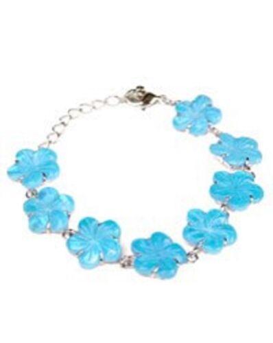 Color Changing Blue Shell Flower Bracelet