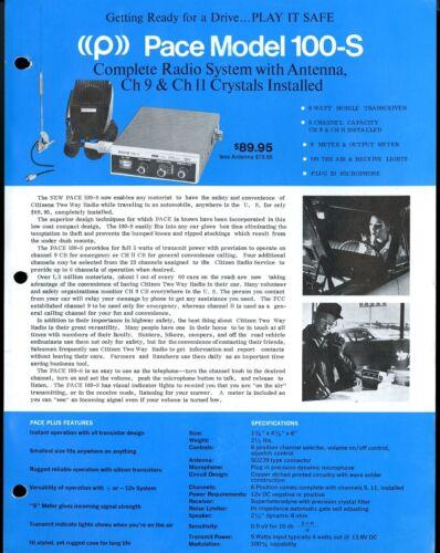 Vintage PACE Model 100-S Radio System & Antenna Print Ad Sales Spec Sheet