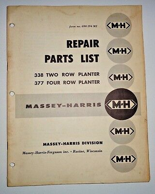 Massey Harris 338 2-row 377 4-row Planter Parts Catalog Manual Book Mh Mf