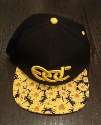 EDC Electric Daisy Carnival Snapback Hat Yellow Sunflower Floral Print EDM ](Edc Hats)