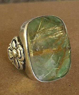 Stephen Dweck Sterling Silver Green Quartz Ring, Sz 5 - 23g.