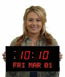 LED Digital Clock Over Sized Easy To Read Electric Wall Large Day Date Time