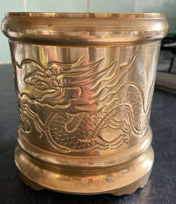 Beautiful Engraved With Dragons  Antique Brass  Planter / Plant Pot