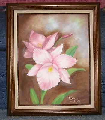 GORGEOUS GARDEN PINK ORCHID FLOWER BOTANTICAL NATURE STILL LIFE FLORAL PAINTING
