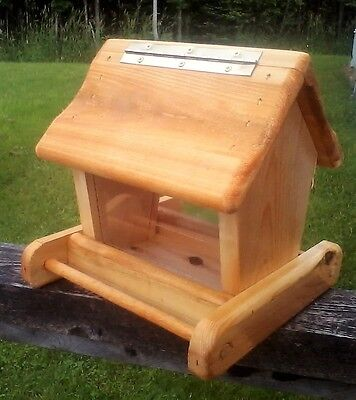 Cute rustic small handmade cedar wood square post mount bird feeder, TBNUP #1