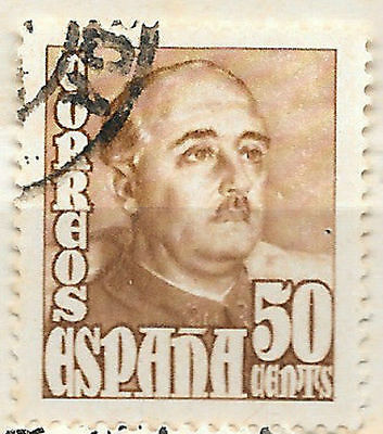 issued 1948 spanish stamp - high value definitive 50c - spain - see scan