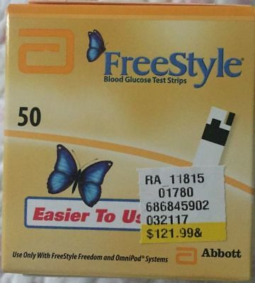 50 Freestyle Blood Glucose Test Strips 03/2019-05/2019 OMNIPOD/Flash Compatible