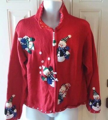 TIARA GIRLS UGLY CHRISTMAS SWEATER RED,GREEN,WHITE,BLUE SNOWMAN (Ugly Christmas Sweater Girls)