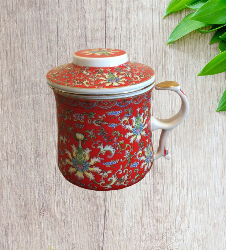 Beautiful Chinese Red Family Rose Tea Cup Mug infuser w/ Lid