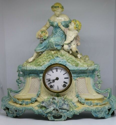 Vintage French Style Painted Mantel Clock Mother & Child Figural Statue on top