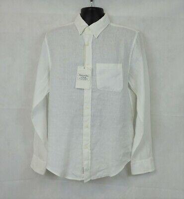 Abercrombie And Fitch Lino Manga Larga Camiseta Blanca Talla M CR016 Ff...