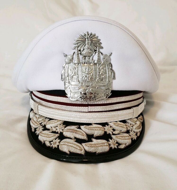 Thailand Military Bangkok Police General Officers Parade Dress Visor Hat Cap