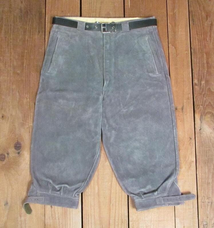 Vintage German Gray Leather Lederhosen Pants Trousers Breeches 27waist Nice!