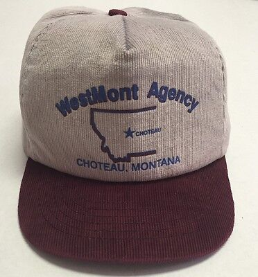 Vtg WestMont Agency Hat Choteau Montana Cap Insurance Promo Defunct MT USA Made