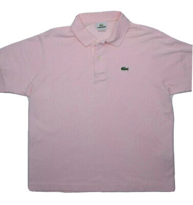 Lacoste Mens Polo Shirt Size 6 Pink Short Sleeve Casual 2 Button Cotton