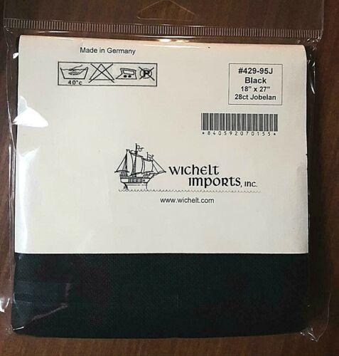 Wichelt PREMIUM JOBELAN FABRIC 28 ct Cross Stitch 18 x 27 inch BLACK Evenweave