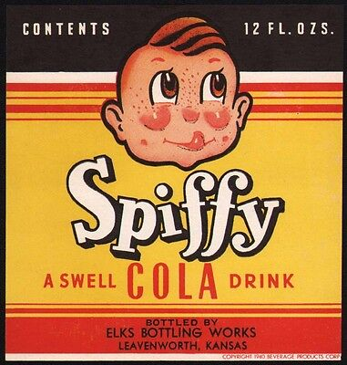 Vintage soda pop bottle label SPIFFY COLA boys face pictured Leavenworth Kansas
